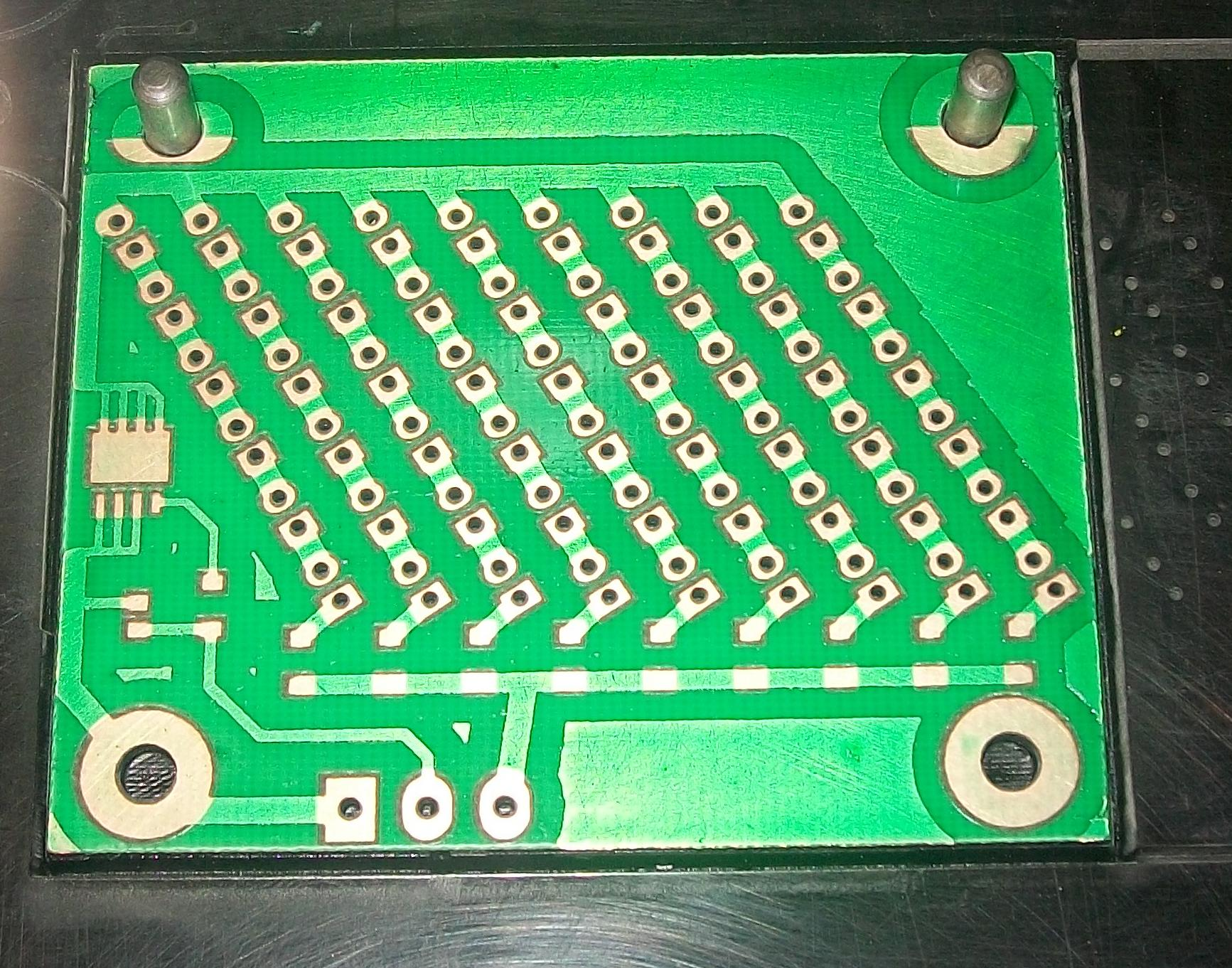 Paint Printed Circuit Picture Of How To Waterproof Boards Epoxy Method Note The Machine Is Running And Has Not Completed Removing Green Mask At